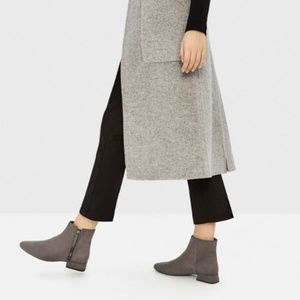 Zara Basic Grey Suede Booties Ankle Boots Zip Up